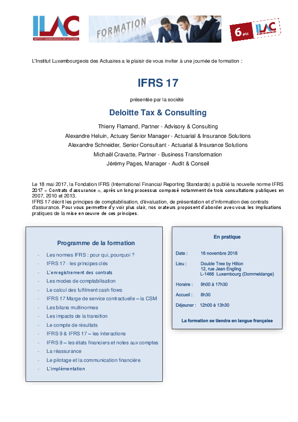 2018 11 16 Formation IFRS17